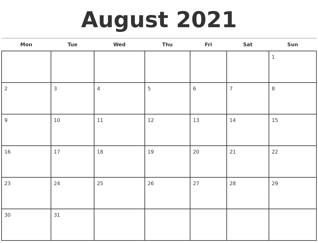 August 2021 Monthly Calendar Template