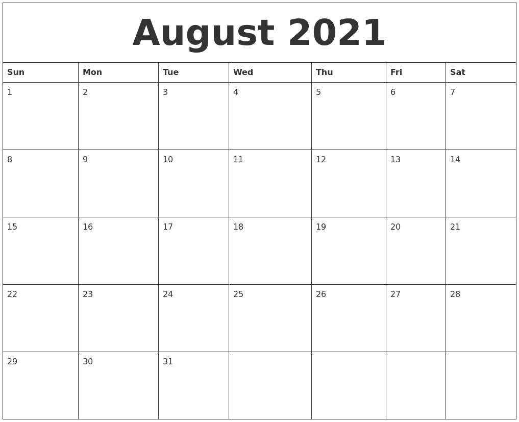 August 2021 Monthly Printable Calendar
