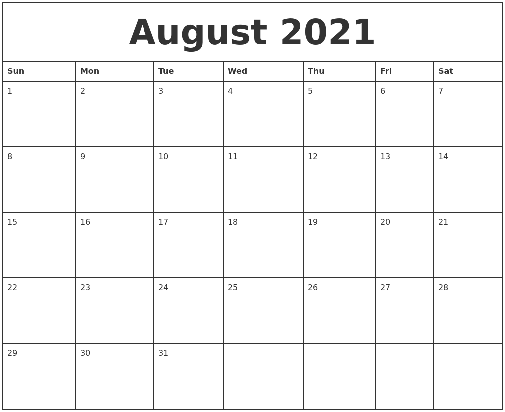 August 2021 Printable Monthly Calendar