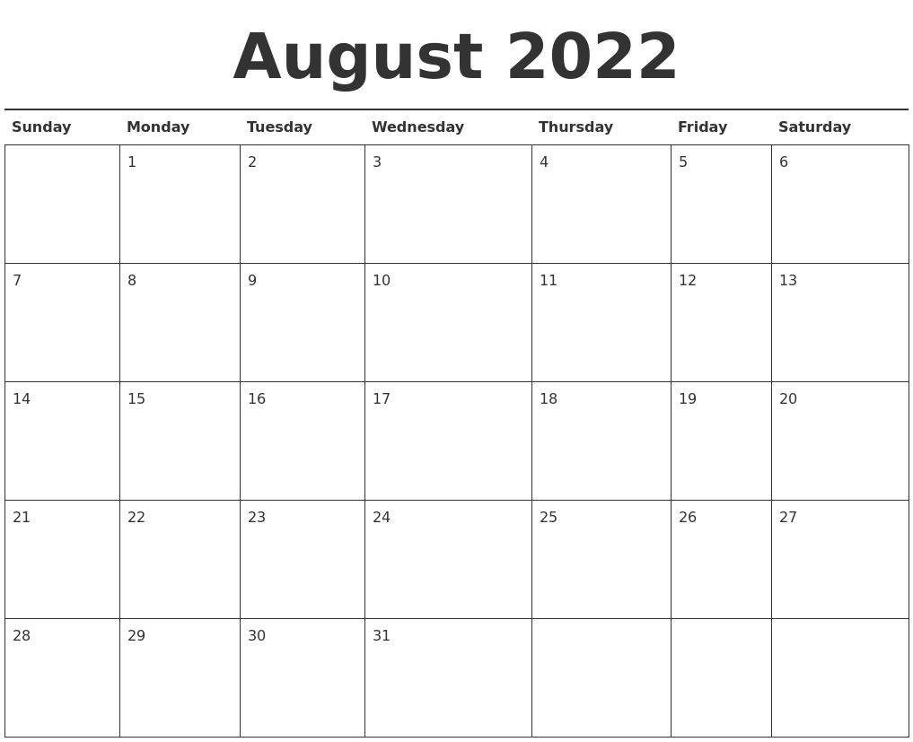 August 2022 Calendar Printable PDF's
