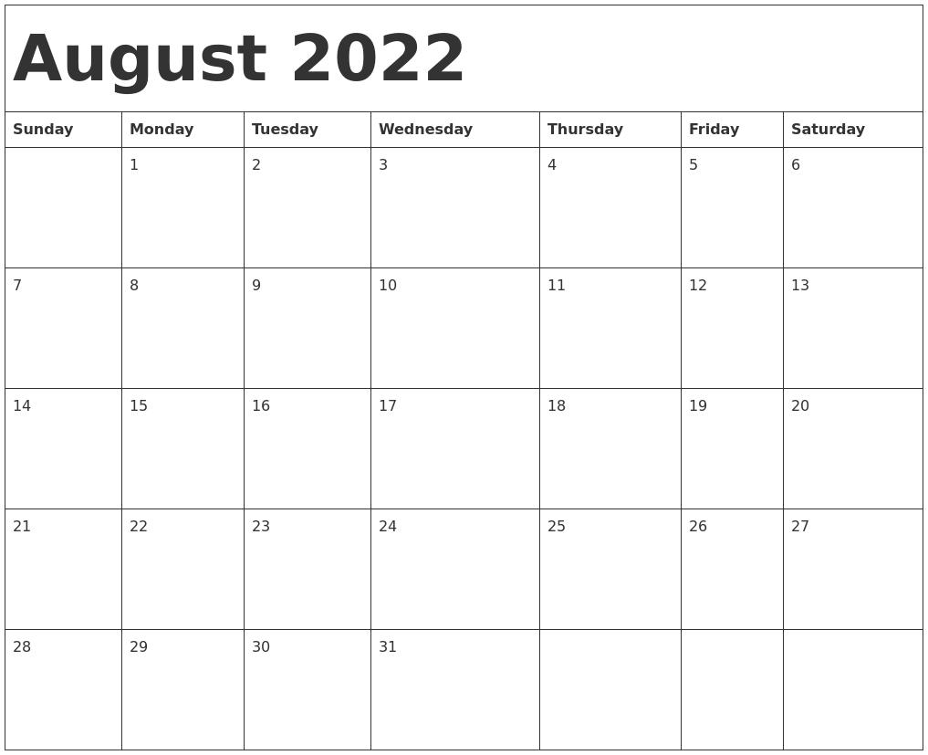 Uvu Fall 2022 Calendar.August 2022 Calendar Template