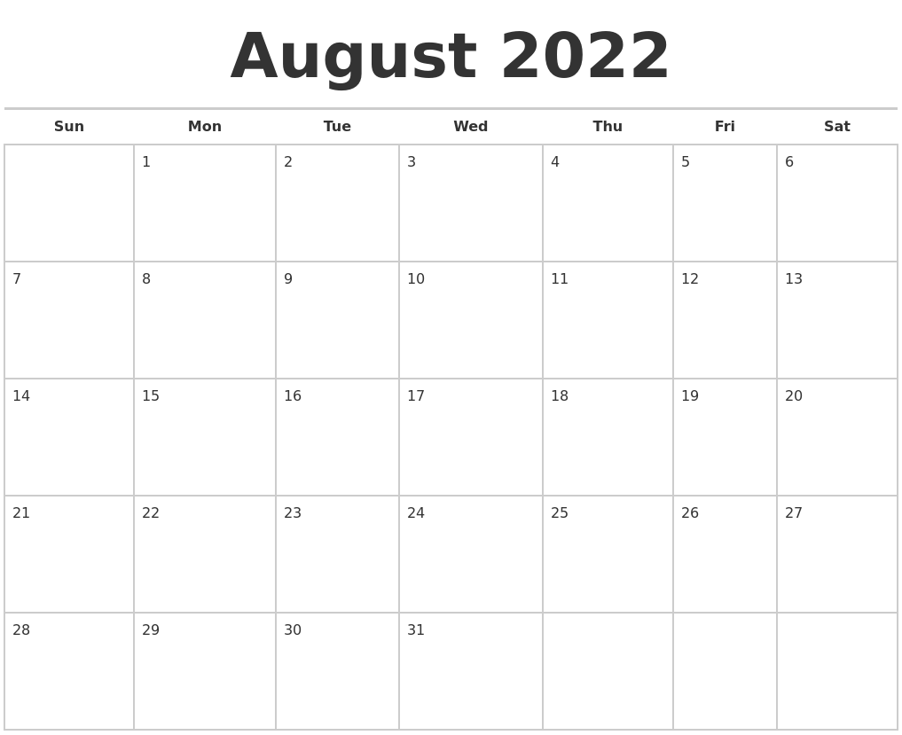 August 2022 Calendars Free