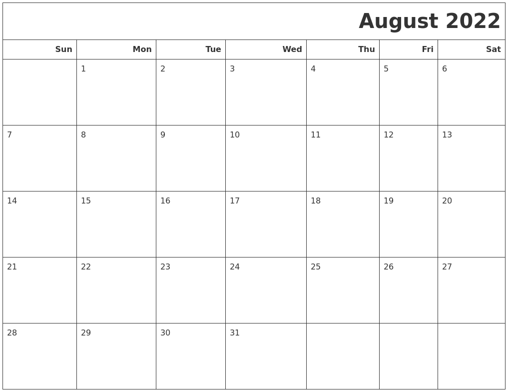 August 2022 Calendars To Print
