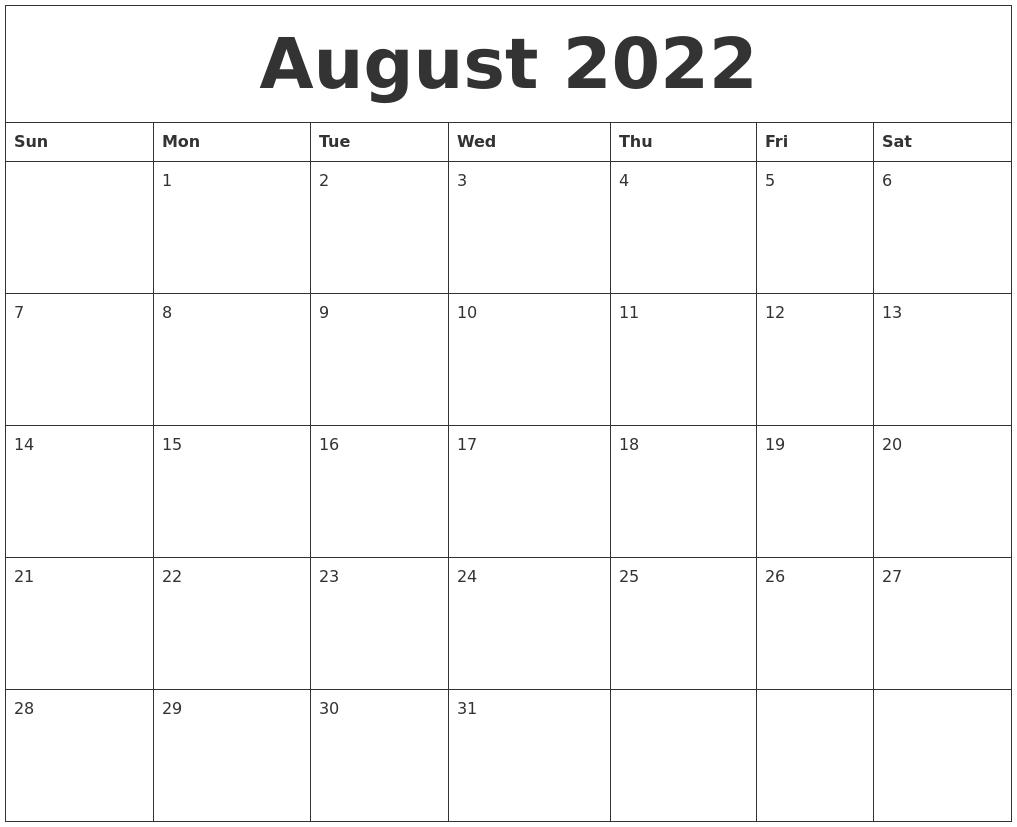 2022 August Calendar.August 2022 Create Calendar