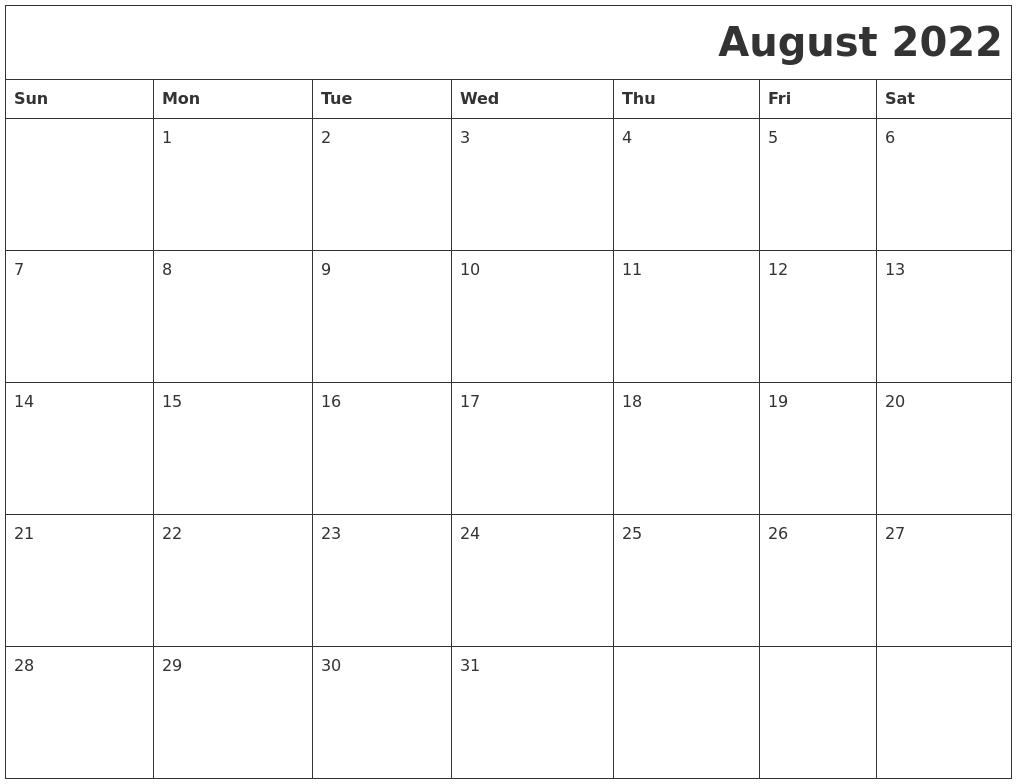 August 2022 Download Calendar