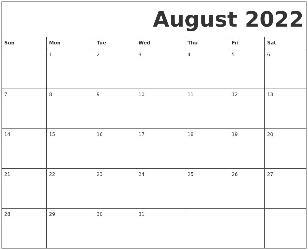 December 2022 Monthly Calendar