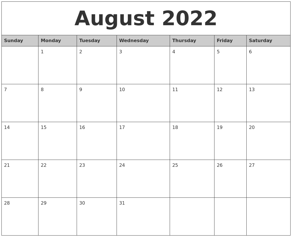 August 2022 Monthly Calendar Printable