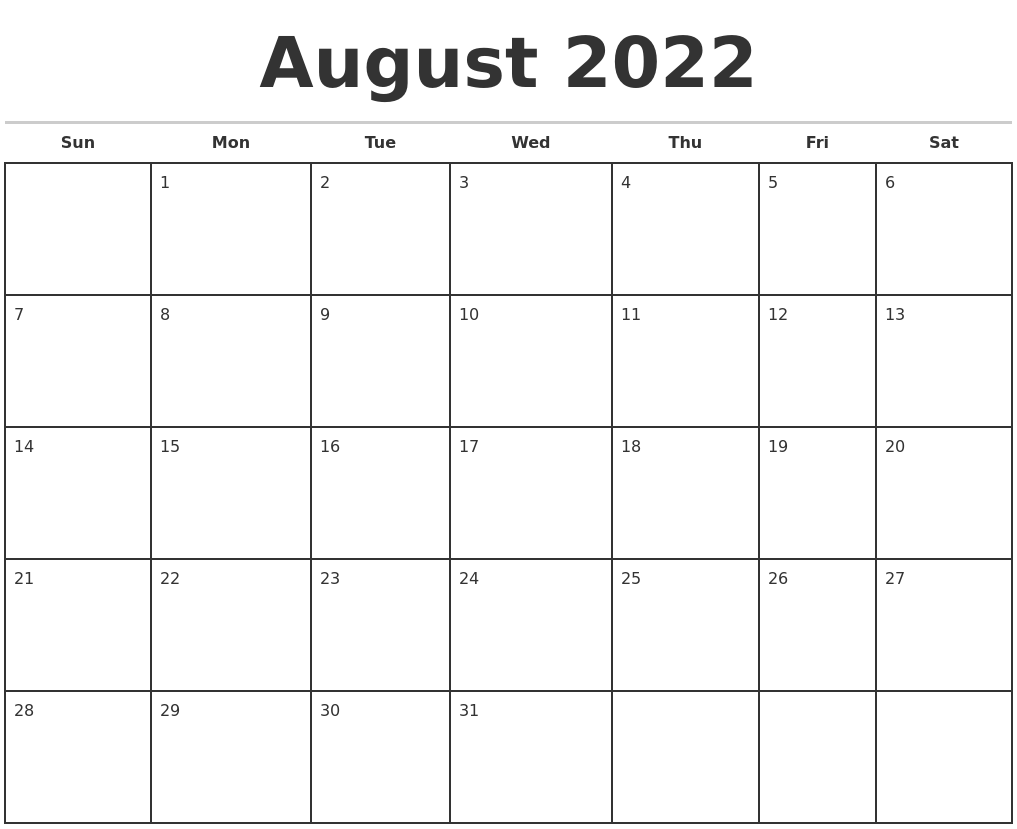 August 2022 Monthly Calendar Template