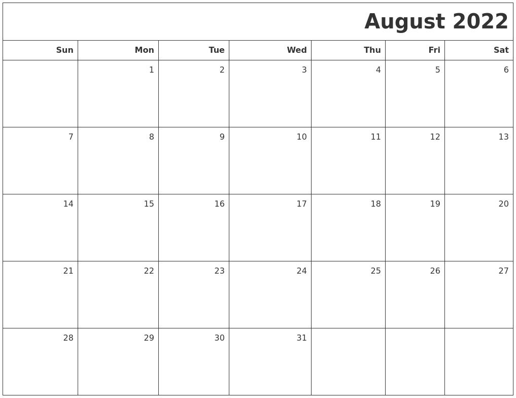 Blank Calendar August 2022 Printable.August 2022 Printable Blank Calendar