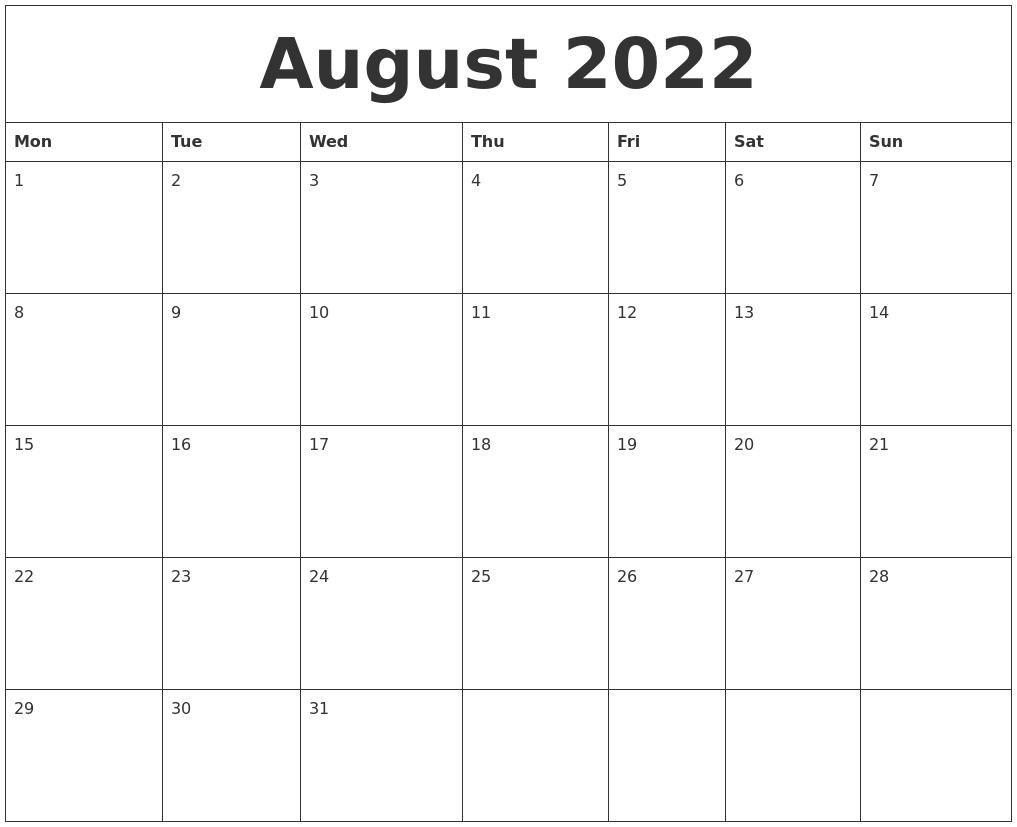 August 2022 Printable Calander