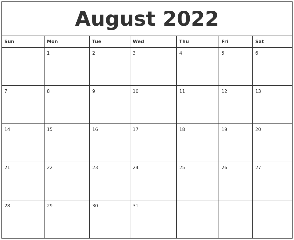 August 2022 Printable Monthly Calendar