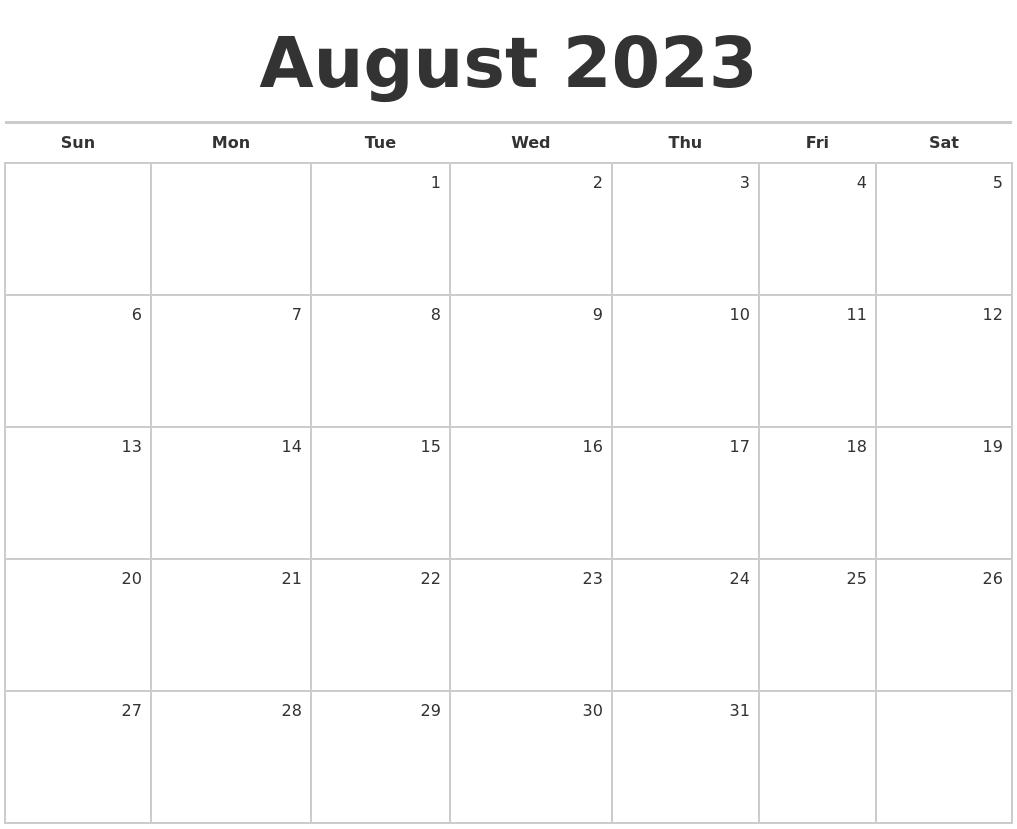Calendar Monthly August : August blank monthly calendar