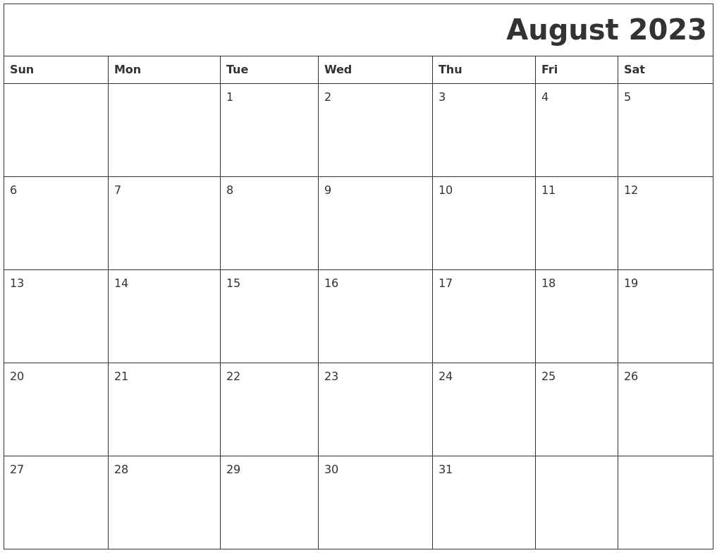 August 2023 Download Calendar