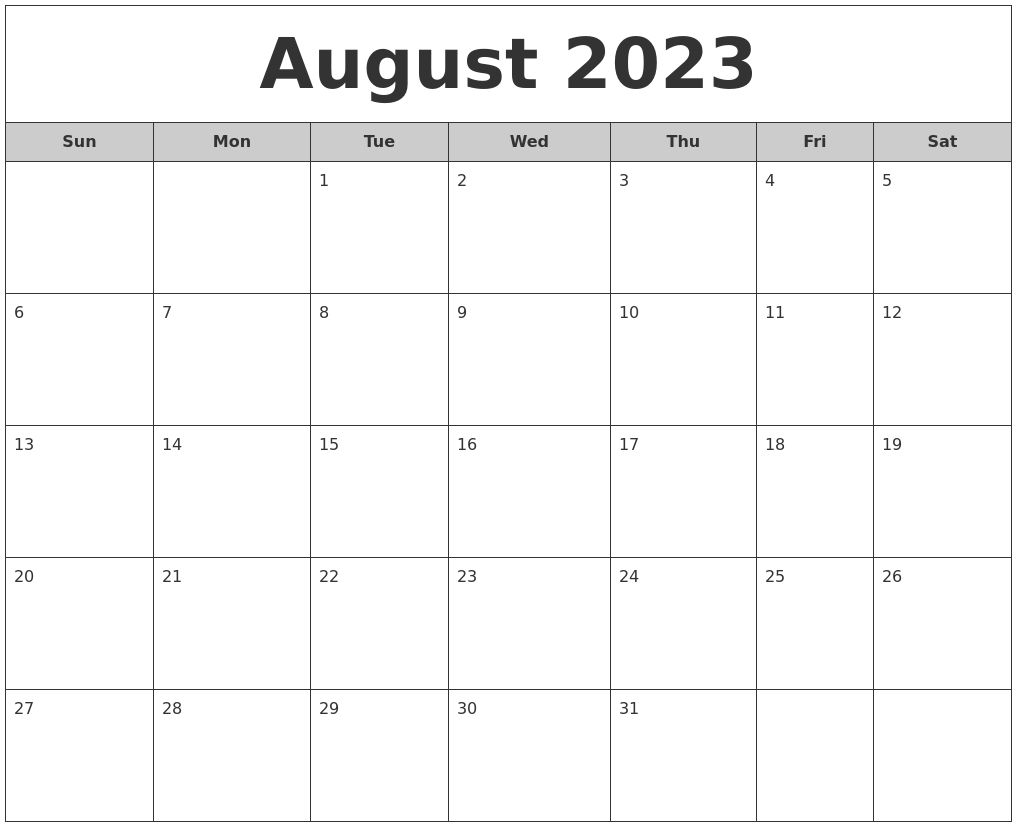 August 2023 Free Monthly Calendar