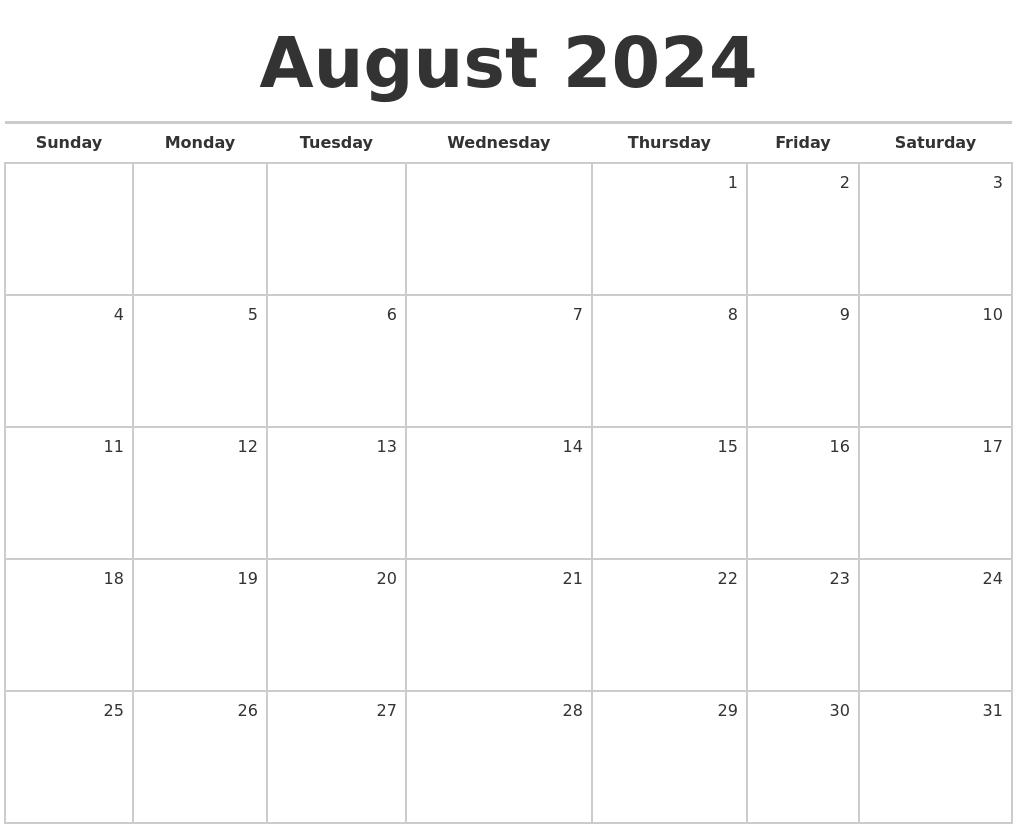 august 2024 blank monthly calendar