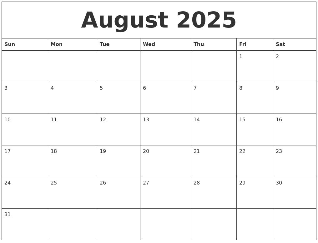 August 2025 Blank Calendar To Print