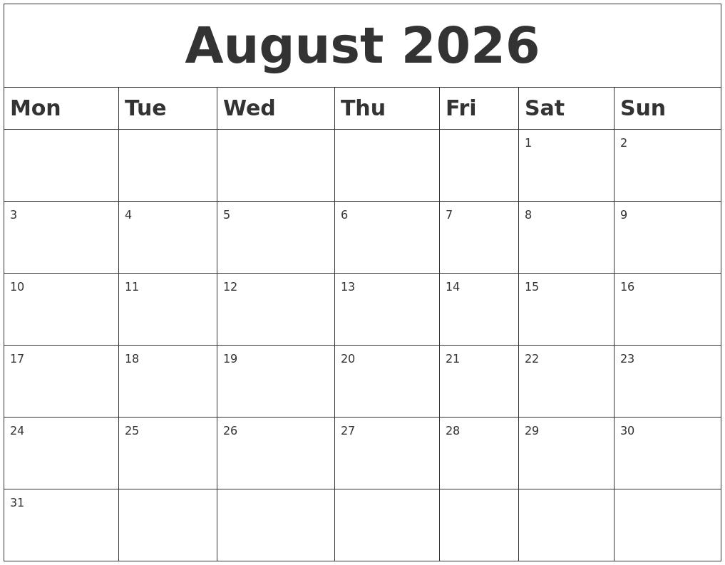 August 2026 Blank Calendar