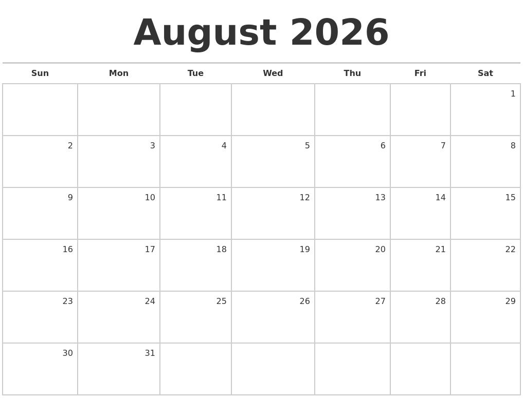 July 2026 Calendars Free