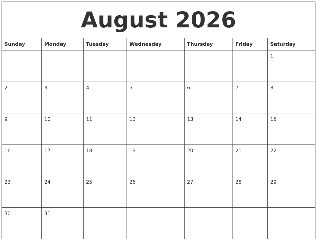 August 2026 Free Weekly Calendar