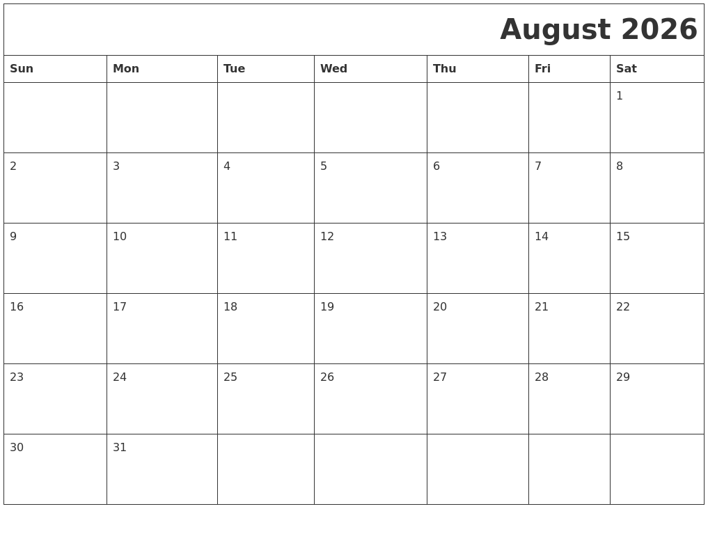 August 2026 Printable Calender