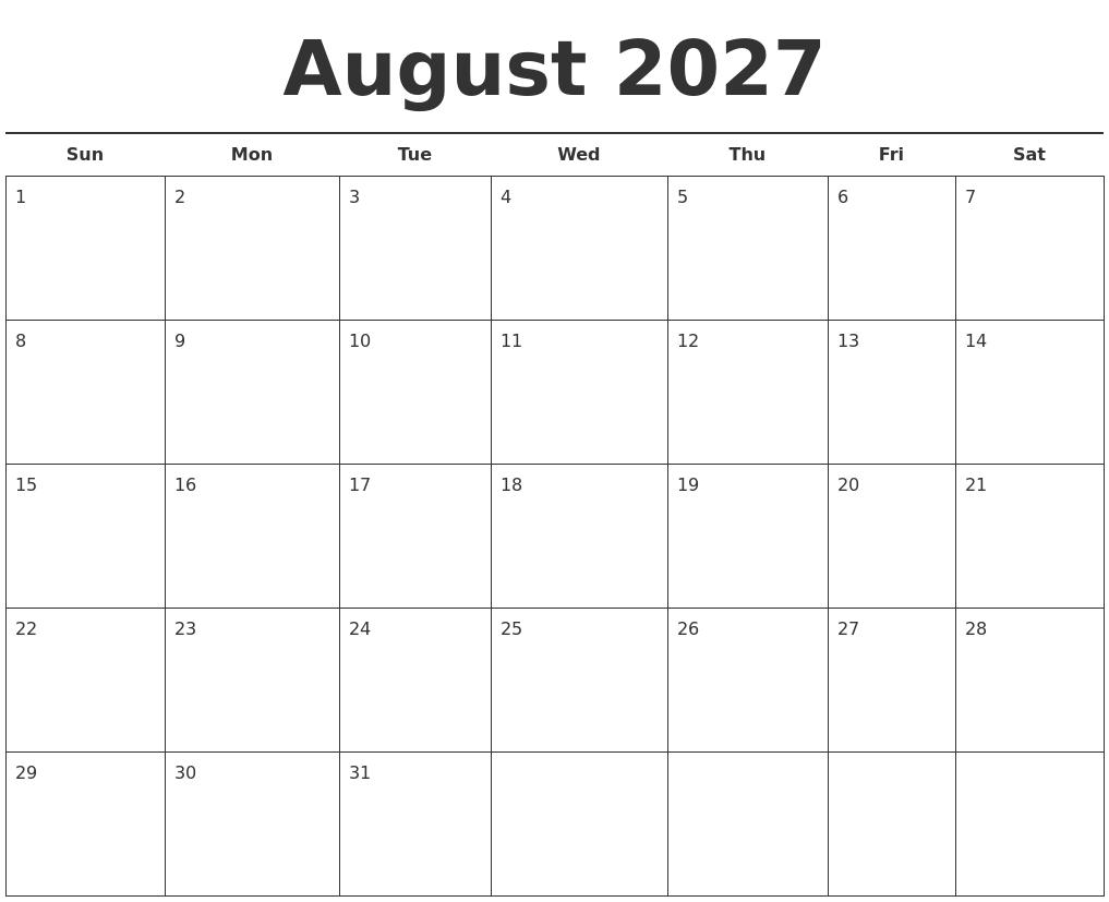 June 2027 Blank Calendar Template