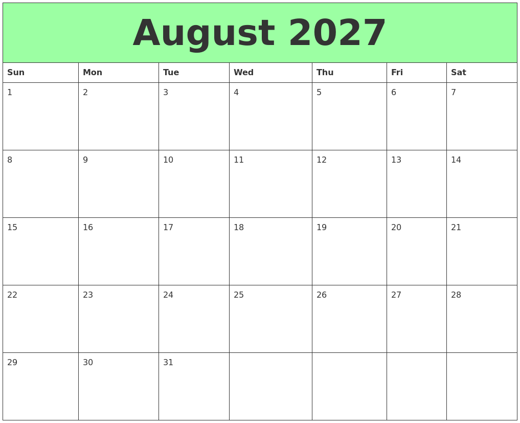 October 2027 Print Free Calendar