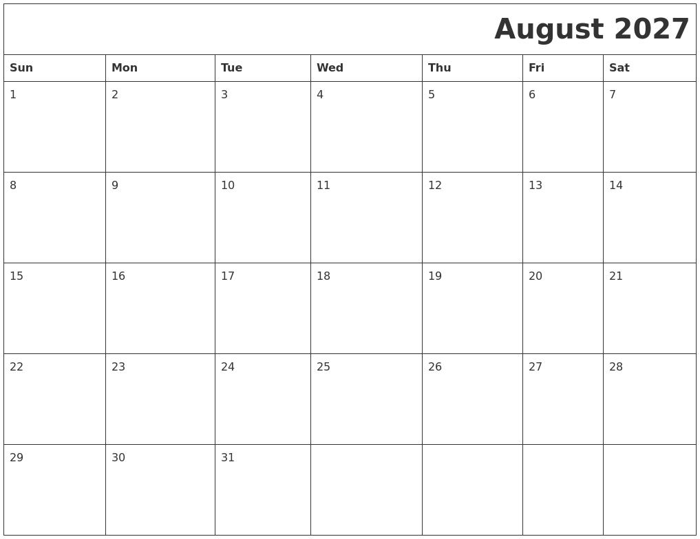 August 2027 Printable Calender