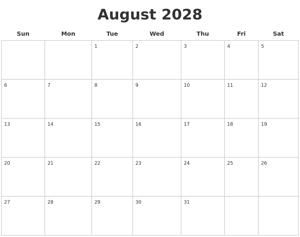 May 2028 Blank Monthly Calendar
