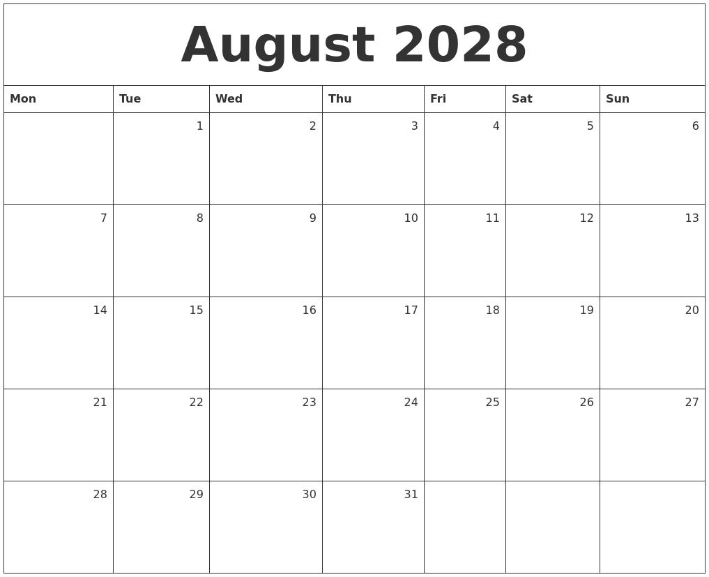 Calendar 2018 June August