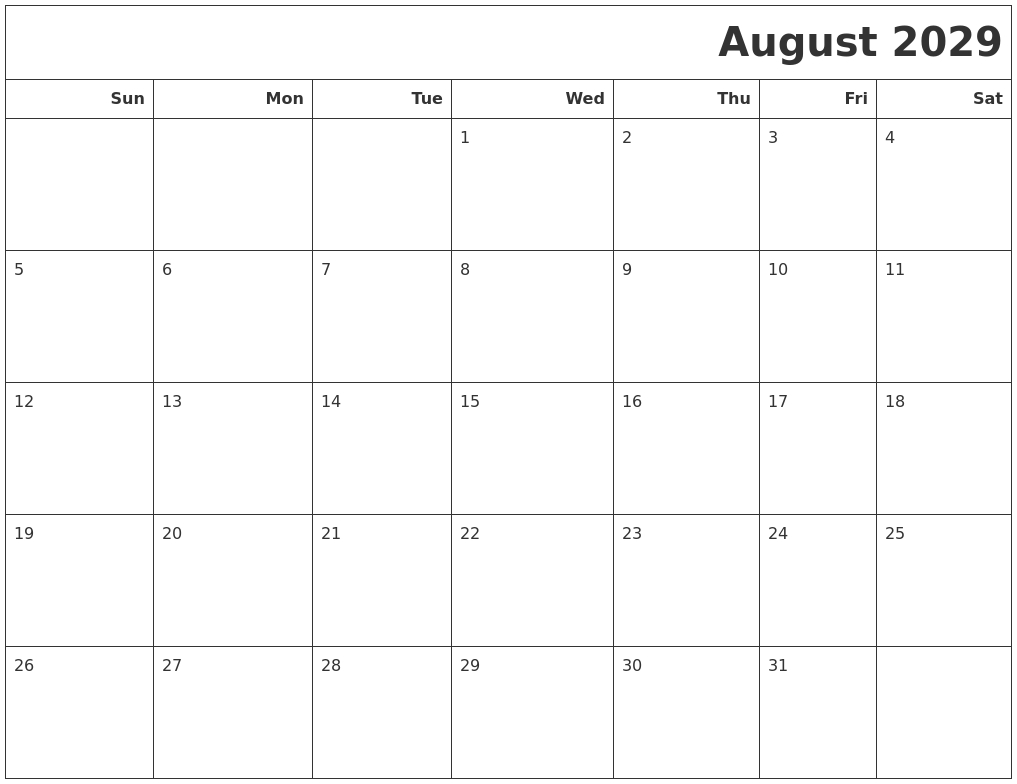August 2029 Calendars To Print