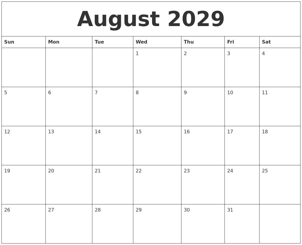 Calendar 2018 Printable August