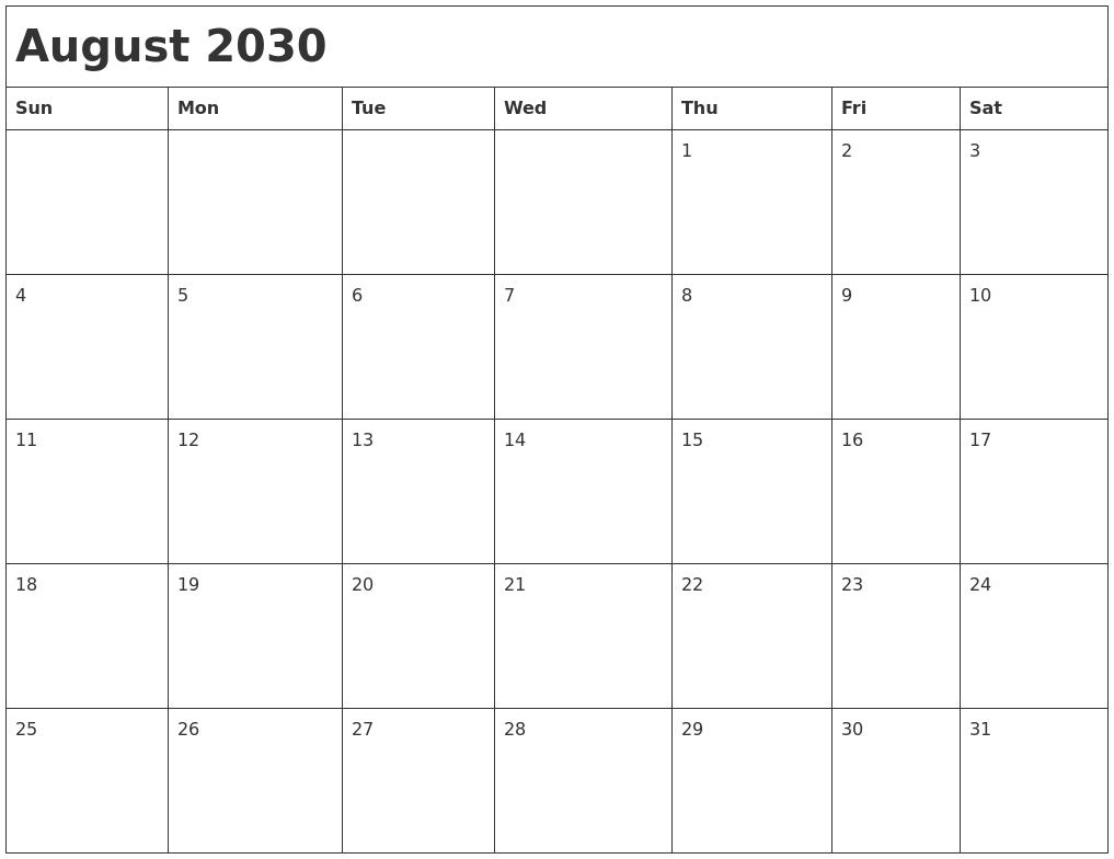 September 2029 Blank Calendar Pages
