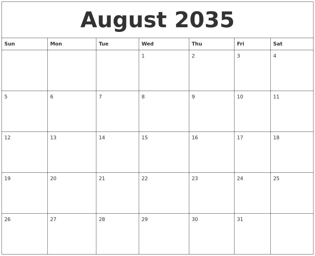 august 2035 printable calenders