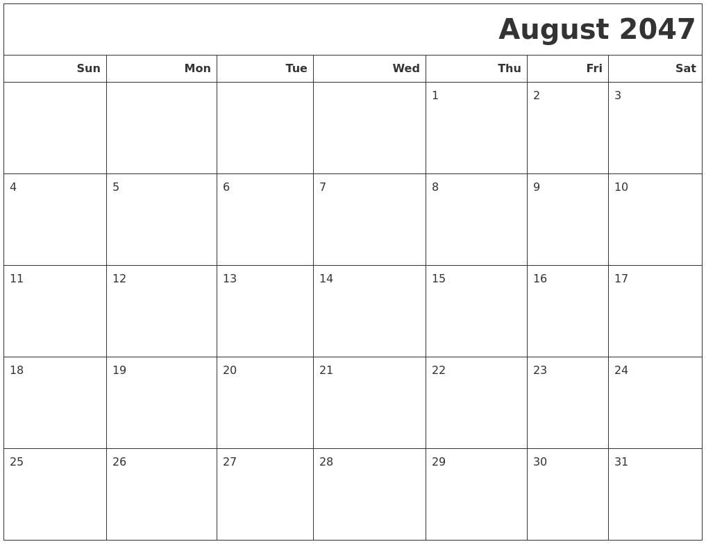 April 2047 Make A Calendar
