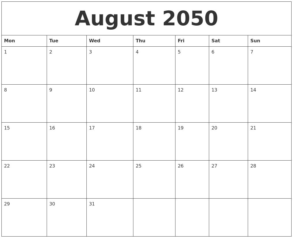 August 2050 Cute Printable Calendar