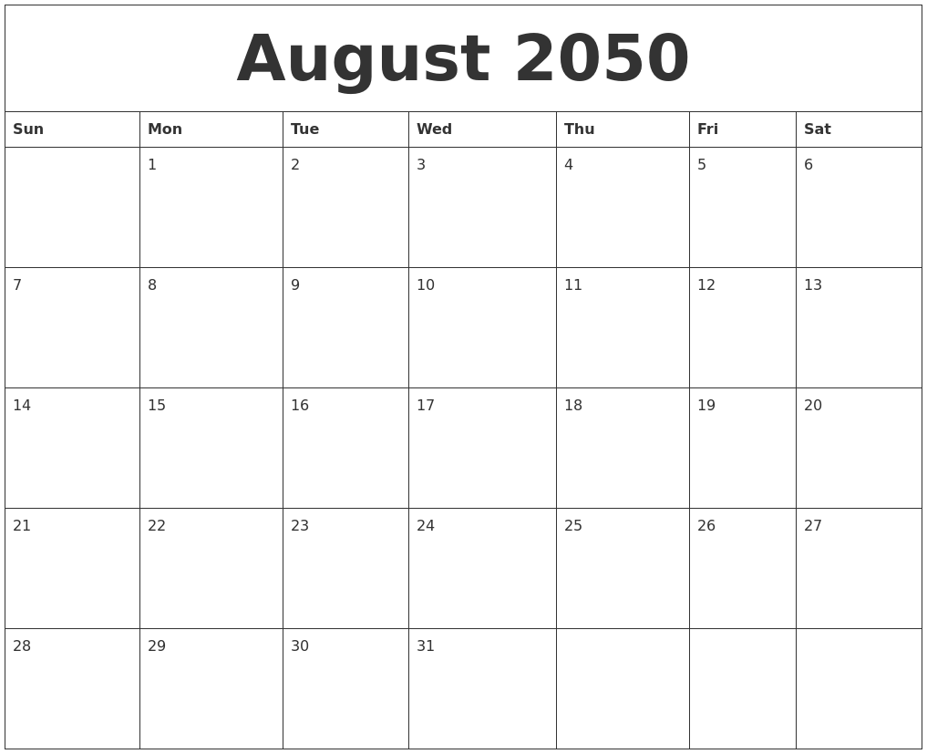 August 2050 Free Blank Calendar Template