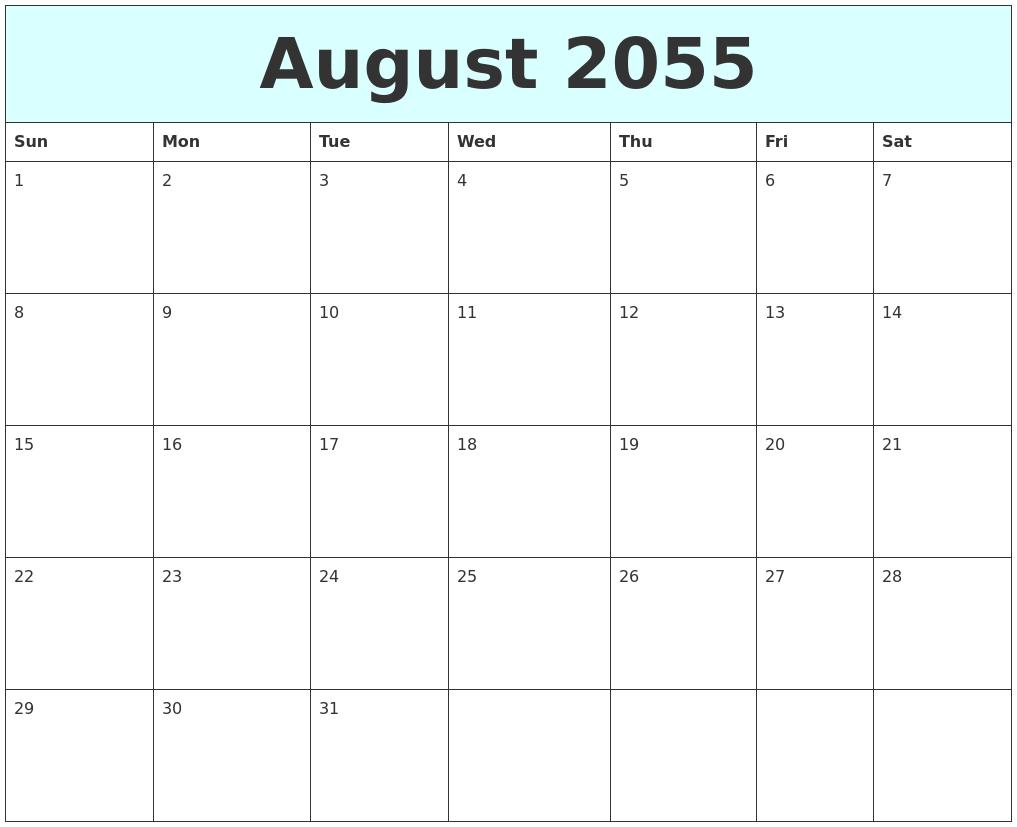 August 2055 Free Calendar