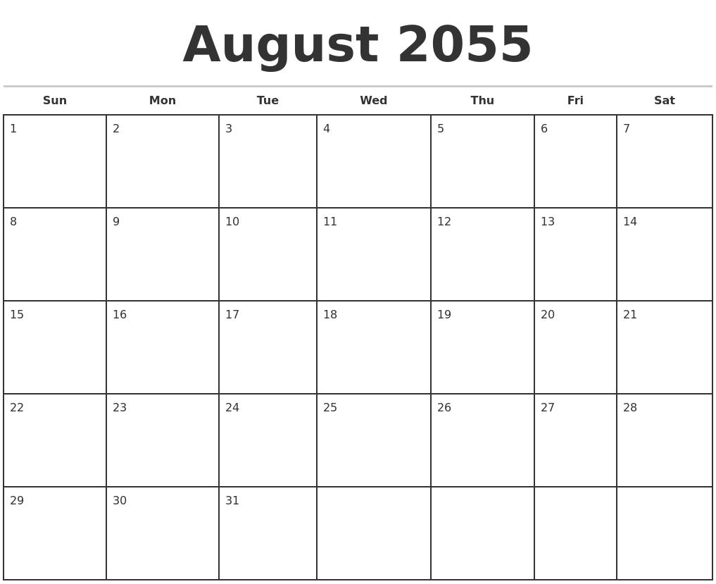 April 2055 Free Calendar Template