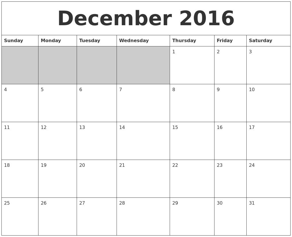 December 2016 Blank Printable Calendar PDF's
