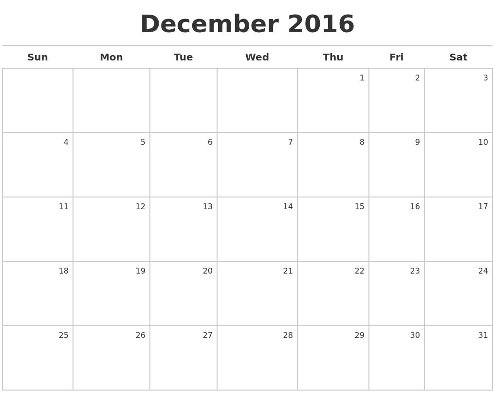 Calendar December 2017 >> December Calendars