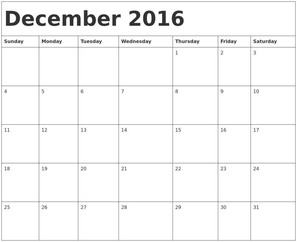December 2016 Calendar Template PDF's