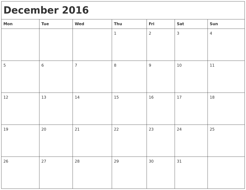 December 2016 Month Calendar PDF's