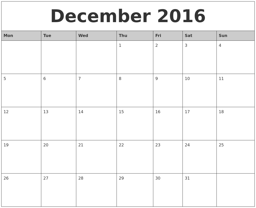 "December Calendar 2016 Printable Pdf : Search results for "" monthly calendar printable pdf"