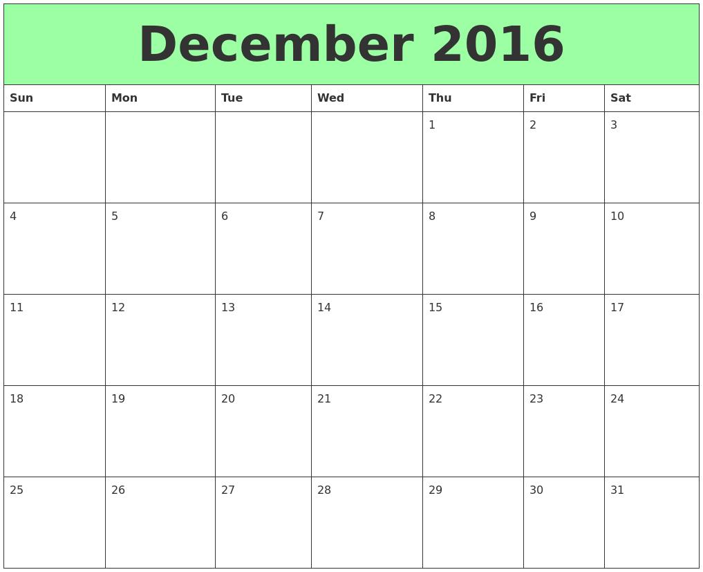 December 2016 Printable Calendars