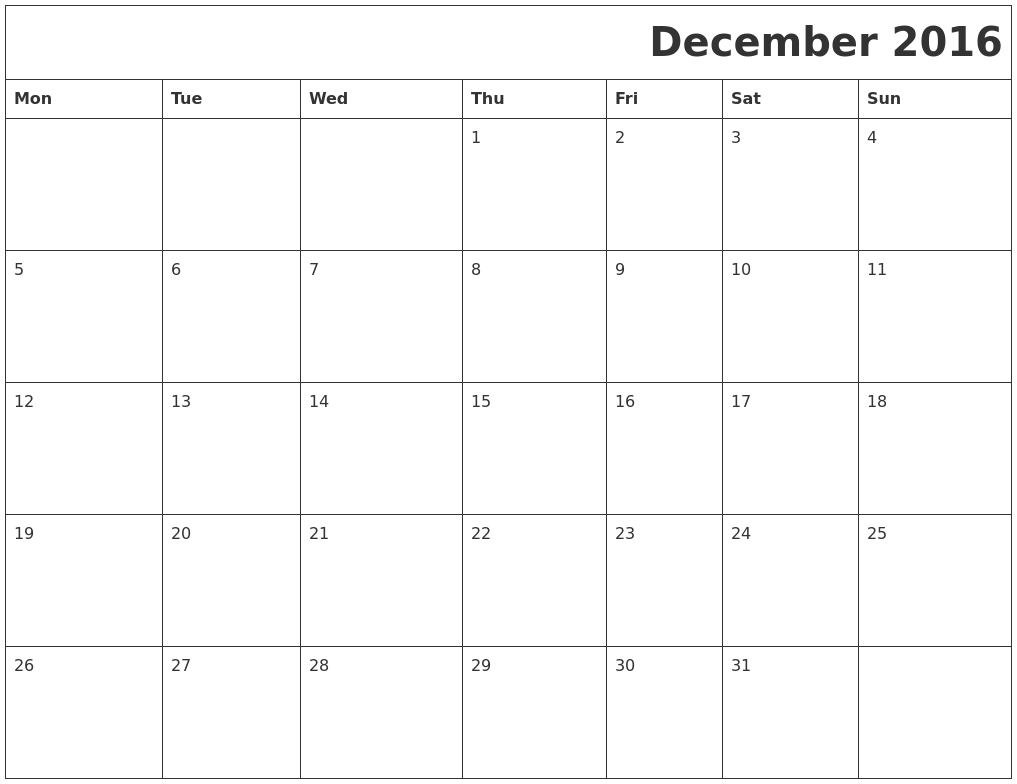 December 2016 Printable Calender PDF's