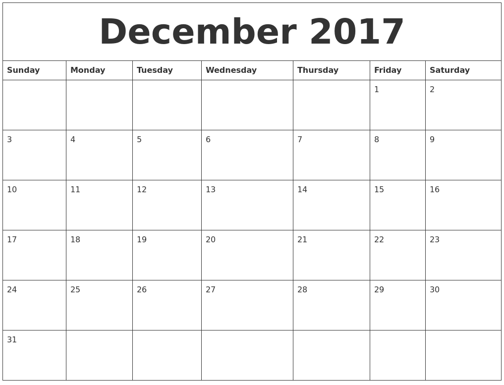 2017 Blank Monthly Calendar Pdf