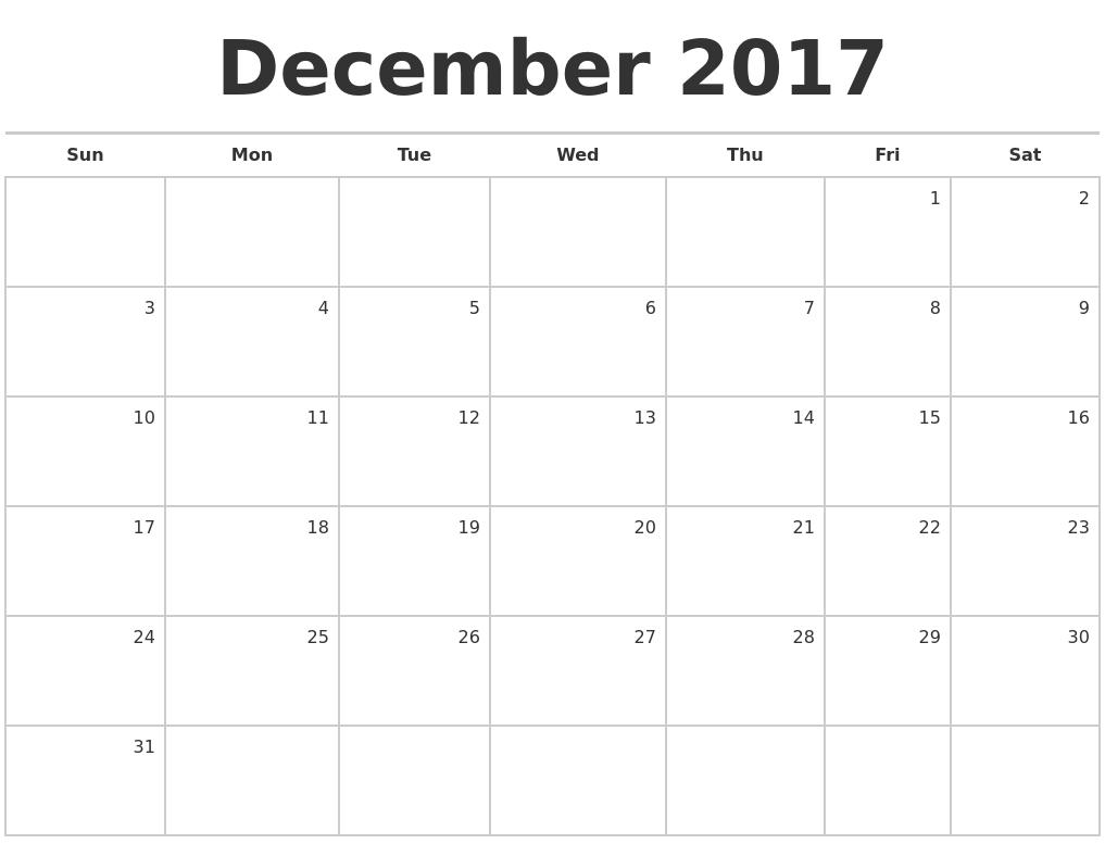 December 2017 Blank Monthly Calendar