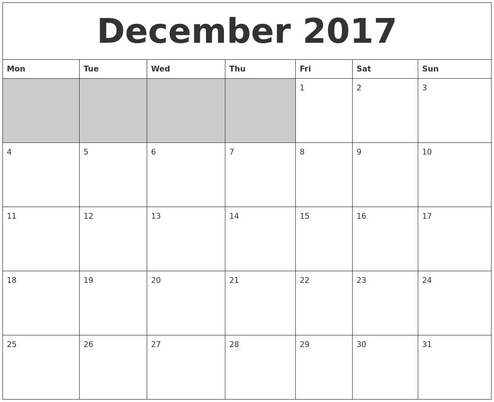 2017 Blank Printable Calendar – Blank Printable Calendar