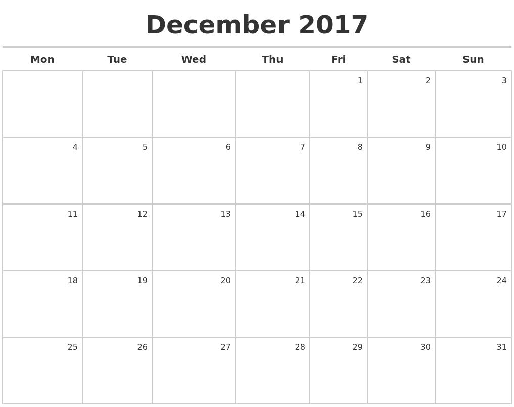 Calendar Monday Start : December calendar maker