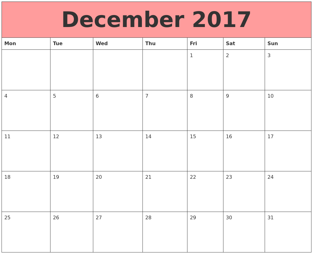 October 2017 Calendar Monday Start